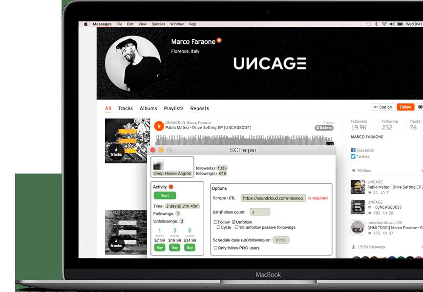 SoundCloud Helper - The Follower / Unfollower Bot APP for MAC OSX & PC